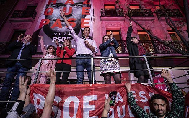 Le Premier ministre espagnol Pedro Sanchez à Madrid, après les élections législatives le 28 avril 2019. (Crédit : AP Photo/Bernat Armangue)