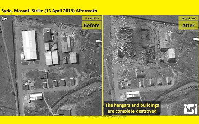 Des photos par satellite diffusées par ImageSat International montrent des bâtiments qui ont été touchés par des frappes attribuées à Israël contre une base militaire syrienne à Masyaf, dans la province de Hama, le 12 avril 2019 (Crédit : ImageSat International)