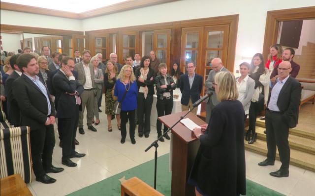 L'ambassadrice de France en Israël, Hélène Le Gal, lors de la cérémonie d'inauguration du Centre d'études européennes Simone Veil à l'université Ben Gurion du Néguev, le 8 avril 2019. (Crédit photo : Hélène Le Gal / Twitter)