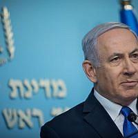 Le Premier ministre Benjamin Netanyahu s'exprime lors d'une conférence de presse à son bureau à Jérusalem, le 3 avril 2019. (Noam Revkin Fenton/Flash90)