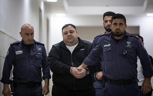 Daniel Nachmani, accusé du meurtre de Noa Eyal, au tribunal de Jérusalem, le 29 avril 2019. (Crédit : Hadas Parush/Flash90)