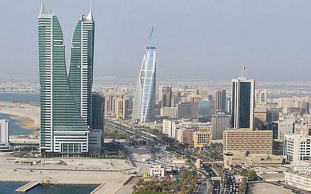 Une vue du quartier d'affaires de Manama, la capitale du Bahreïn (Crédit : CC-BY Jayson De Leon/Wikimedia Commons)