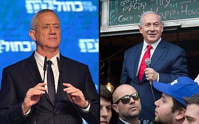 Benny Gantz, (à gauche), et le Premier ministre Benjamin Netanyahu. (Noam Revkin Fenton, Yonatan Sindel/Flash90)