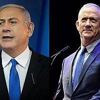 Le Premier ministre Benjamin Netanyahu, (à gauche), et Benny Gantz. (Hadas Parush/Tomer Neuberg/Flash90)