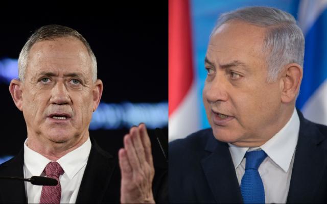 Le Premier ministre Benjamin Netanyahu, à droite, et le chef du parti Kakhol lavan Benny Gantz. (Crédit : Noam Revkin Fenton/Flash90; Tomer Neuberg/Flash90)