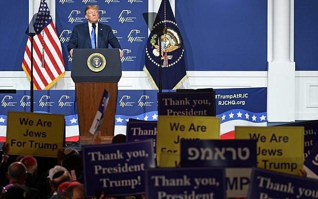Le président américain Donald Trump s'exprime lors de la conférence annuelle de la Coalition juive républicaine au casino The Venetian, le 6 avril 2019 à Las Vegas, Nevada. (Ethan Miller/Getty Images/AFP)