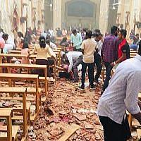 Les conséquences d'une explosion à l'église St. Sébastien in Negombo, Sri Lanka, dimanche de Pâques, le 21 avril 2019. (Crédit : Eglise St Sébastien)