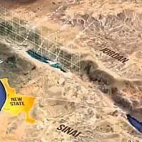 Capture d'écran d'une vidéo montrant un projet de donner aux Palestiniens une partie du Sinaï pour un futur état. Jason Greenblatt, l'envoyé pour la paix de l'administration américaine, a démenti que cela faisait partie du plan de paix de Trump, le 19 avril 2019. (Capture d'écran /Twitter)