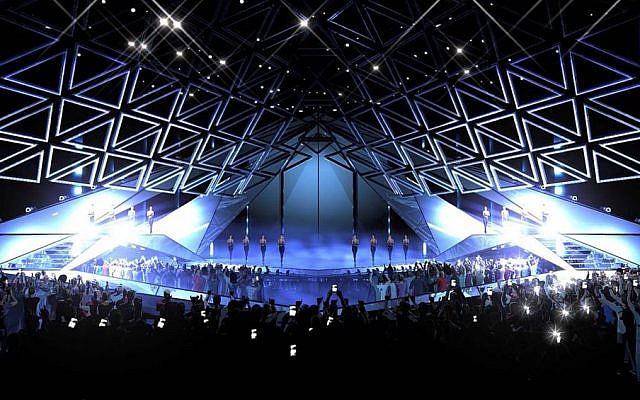 La scène de l'Eurovision 2019 en mai à Tel Aviv (Crédit : Eurovision 2019)