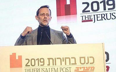 Moshe Feiglin, président du parti Zehut, s'exprime lors d'une conférence organisée par Maariv et le Jérusalem Post le 3 avril 2019. (Crédit : Marc Israel Sellem/POOL)