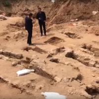 Des tombes musulmanes découvertes sur un site de construction à Jaffa, en mai 2018. (Capture d'écran: YouTube)