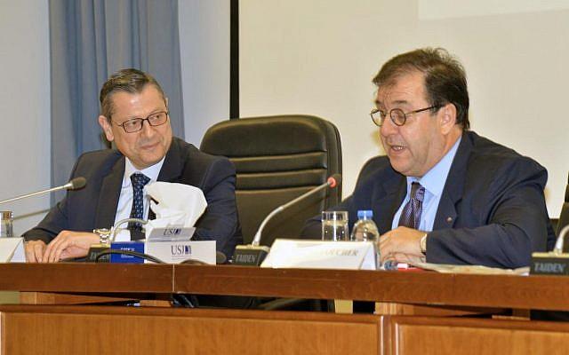Bruno Foucher, ambassadeur de France au Liban, lors de la conférence «La politique arabe de la France» à l'université Saint-Joseph de Beyrouth, le 28 mars 2019. (Crédit photo : Université Saint-Joseph de Beyrouth)