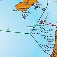 Une carte maritime de la Méditerranée de l'est montrant les frontières de Zone économique exclusive, dont une zone contestée (numéro 4) entre Israël et le Liban. Source : IEMed annuaire de la Méditerranée 2012 (www.iemed.org/medyearbook)