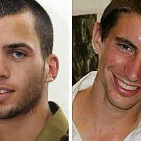 Photo montage des soldats de Tsahal Oron Shaul (à gauche) et Hadar Goldin (à droite).
