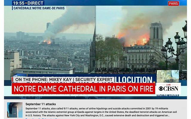 YouTube diffuse t par erreur sous les images de la Notre Dame en flammes un bandeau informatif évoquant les attentats du 11 septembre. (Capture d'écran)