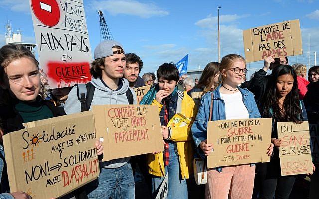 Manifestation au Havre contre la vente d'armes à l'Arabie saoudite, qui pourraient servir dans le conflit au Yémén, le 9 mai 2019. (Crédit : JEAN-FRANCOIS MONIER / AFP)