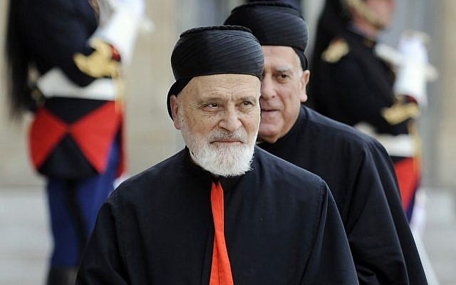 (ARCHIVES) Le cardinal libanais Nasrallah Boutros Sfeir au palais de l'Elysée à Paris, le 12 juin 2010. (Crédit : Lionel BONAVENTURE / AFP)