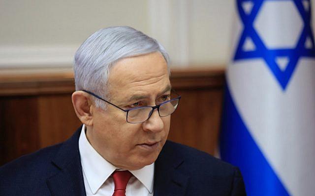 Le Premier ministre Benjamin Netanyahu lors de la réunion hebdomadaire du cabinet au bureau du Premier ministre à Jérusalem, le 19 mai 2019. (Crédit : Ariel Schalit/POOL/AFP)