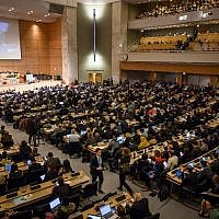 L'Assemblée générale de l'Organisation mondiale de la Santé, dans les bureaux des Nations unies à Genève, le 20 mai 2019. (Crédit : Fabrice COFFRINI / AFP)