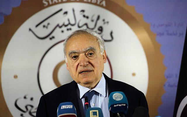 L'émissaire de l'ONU pour la Libye, Ghassan Salamé, le 6 avril 2019. (Crédit : Mahmud TURKIA / AFP)