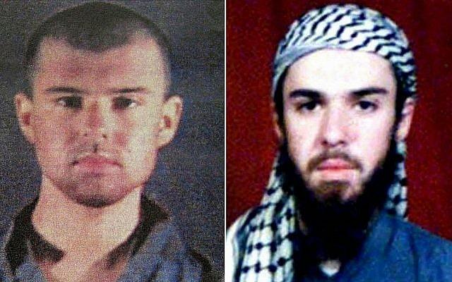 (MONTAGE) Le taliban américain John Walker Lindh, le 6 février 2002, à droite, sur les fichiers de police, et le 11 février 2002 au Pakistan. (Crédit : AFP)