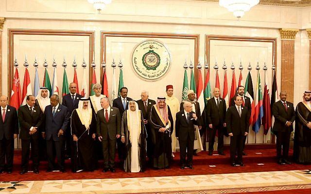 Les chefs de la Ligue arabe posent au sommet extraordinaire du Conseil de coopération du Golfe à la Mecque, lr 31 mai 2019. (Crédit : BANDAR ALDANDANI / AFP)