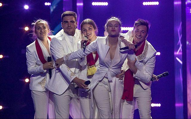 Le groupe D-Mol du Monténégro lors de sa première répétition, à Tel Aviv, pour le concours de l'Eurovision, le 4 mai 2019 (Crédit :  Andres Putting, EBU)