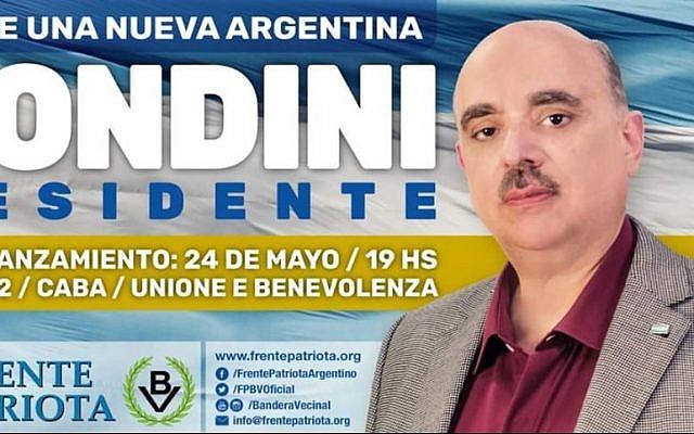 Une bannière de campagne de l'homme politique argentin Alejandro Biondini. (Crédit : Twitter)