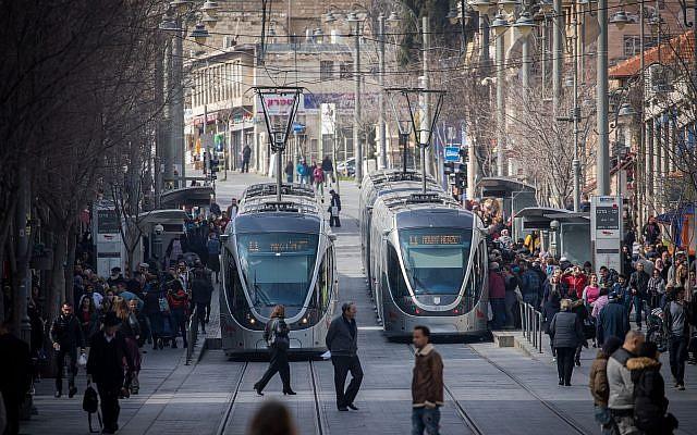 Le centre de Jérusalem, le 14 avril 2019. (Crédit : Yonatan Sindel/Flash90)