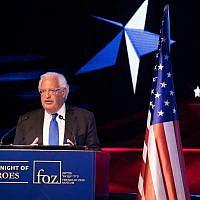 L'ambassadeur américain en Israël David Friedman lors d'un événement marquant le premier anniversaire du transfert de l'ambassade américaine de Tel Aviv à Jérusalem, le 14 mai 2019 (Crédit : Yonatan Sindel/Flash90)