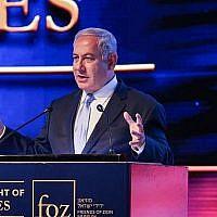 Le Premier ministre Benjamin Netanyahu lors d'un événement marquant le premier anniversaire du transfert de l'ambassade américaine de Tel Aviv à Jérusalem, le 14 mai 2019 (Crédit : Yonatan Sindel/Flash90)
