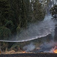Des pompiers tentent d'éteindre un feu de forêt près du kibboutz Harel, le 23 mai 2019. (Crédit : Yonatan Sindel/Flash90)