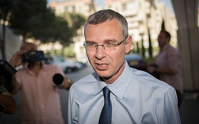 Le ministre du Tourisme Yariv Levin arrive à une réunion du Likud, le 28 mai 2019, à Jérusalem. (Yonatan Sindel/Flash90)