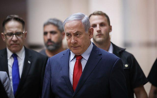 Le Premier ministre Benjamin Netanyahu se rend à une réunion de parti à la Knesset à Jérusalem, le 29 mai 2019. (Crédit : Yonatan Sindel/Flash90)