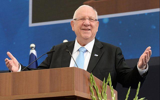 Le président Reuven Rivlindurant la cérémonie organisée pour Yom HaAstmaout à la résidence officielle du président de Jérusalem, le 9 mai 2019 (Crédit :  Haim Zach/GPO)