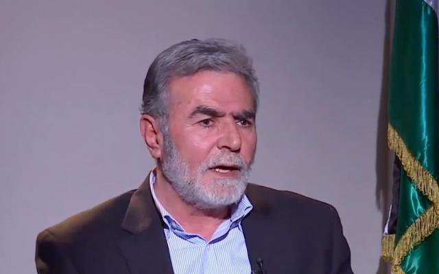 Ziad al-Nakhaleh, secrétaire général du Djihad islamique, s'adressant à une chaîne de télévision arabe, le 12 décembre 2018. (Source: Al-Ghad TV)