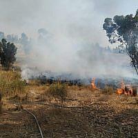 Un incendie dans la région d'Eshkol, le 22 mai 2019. (Crédit : Eli Cohen/sapeurs pompiers israéliens)