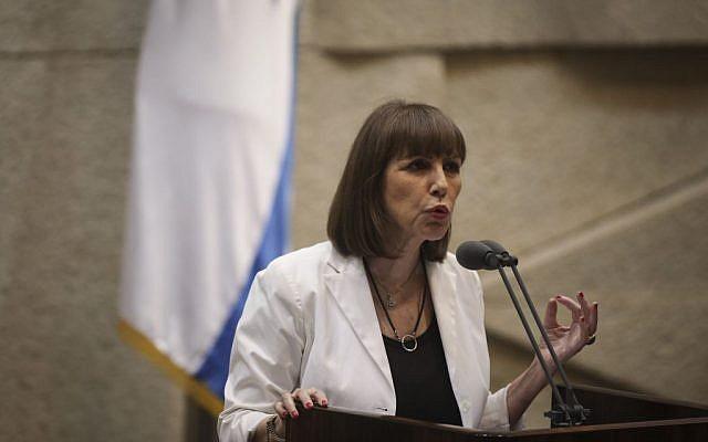 Limor Livnat s'exprimant à la Knesset le 28 juillet 2014.  (Crédit photo : Hadas Parush/Flash90)