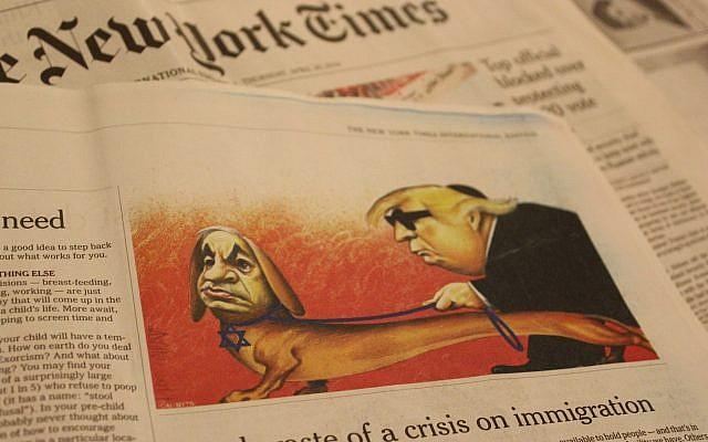 Une caricature du Premier ministre Benjamin Netanyahu et du président américain Donald Trump publiée dans l'édition internationale du New York Times le 25 avril 2019. Le journal a ensuite reconnu qu'elle 'contenait des clichés antisémites'.  (Raoul Wootliff/Times of Israel)