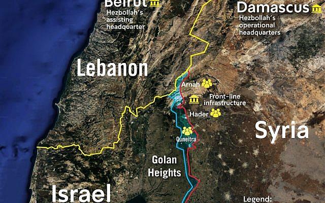Une carte fournie par Tsahal montre les localisations approximatives de cellules actives du Hezbollah le long de la frontière syrienne avec Israël, publiée le 13 mars 2019. (Crédit : Tsahal)