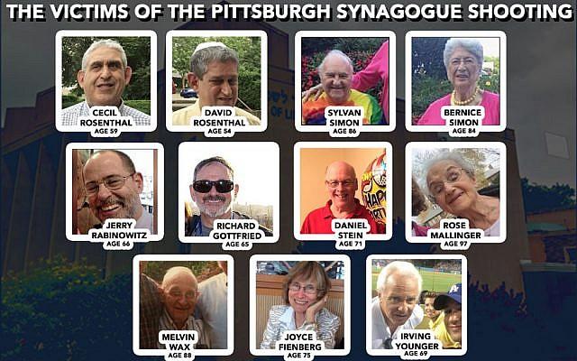 Les victimes de la fusillade de la synagogue de Pittsburgh, le 27 octobre 2018.(Facebook/Google Maps/JTA Collage)