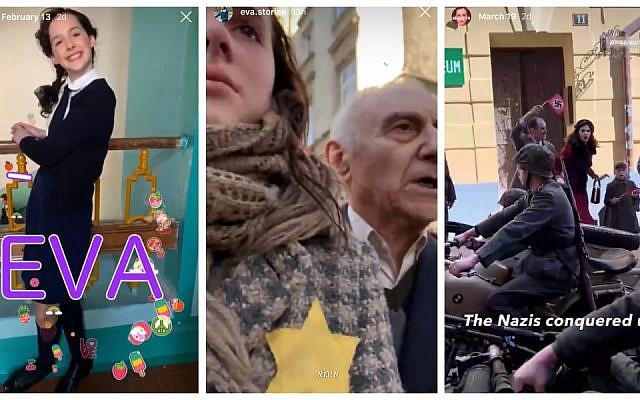 Eva.Stories une fiction Instagram sur la vie d'Eva Heyman, jeune juive hongroise de 13 ans tuée à Auschwitz. (Crédit : capture écran / Eva.Stories sur Instagram via JTA)