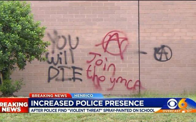 """Graffitis et slogans tagués par des vandales """"You will die"""" et divers slogans antisémites dans un lycée de Virginie, le 12 mai 2019. (Capture d'écran WTVR)"""