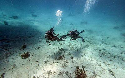Des plongeurs au large de la ville balnéaire de Hurghada, sur la côte égyptienne de la mer Rouge, le 4 avril 2019. (Crédit : Mohamed el-Shahed / AFP)