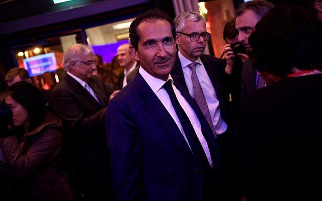 Patrick Drahi, au lancement de la chaîne BFMTV, à Paris, le 7 novembre 2016. (Crédit : MARTIN BUREAU / AFP