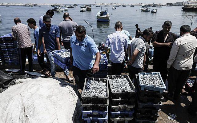 Des pêcheurs palestiniens déchargent la pêche du jour en Méditerranée, à Gaza City, le 18 juin 2019. (Crédit : MAHMUD HAMS / AFP)