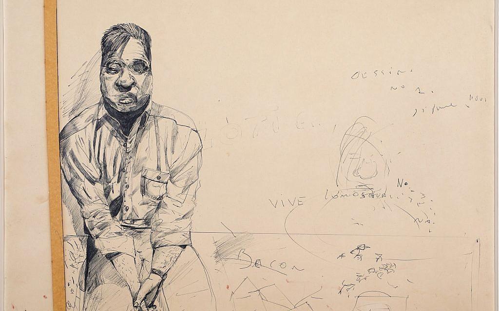 Stéphane Mandelbaum, Francis Bacon (dessin n°1), vers 1980. Stylo-bille et ruban adhésif sur papier. 48,5 x 64,5 cm. Collection Gil Weiss, Bruxelles. © Roger Asselberghs