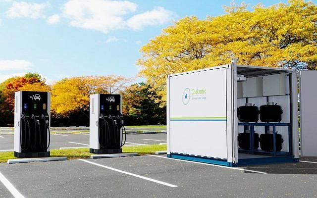 Le Kinetic Power Booster, le premier chargeur pour voiture électrique haute puissance au monde, développé par la société israélienne Chakratec, en collaboration avec la société autrichienne Wien Energie. (Crédit photo : Chakratec)