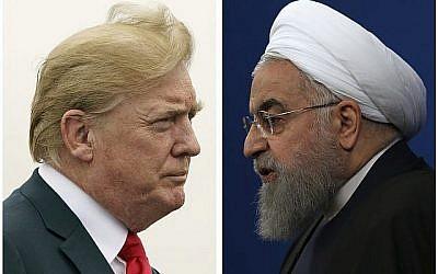Le président américain Donald Trump, (à gauche), le 22 juillet 2018, et le président iranien Hassan Rouhani, le 6 février 2018. (AP Photo)