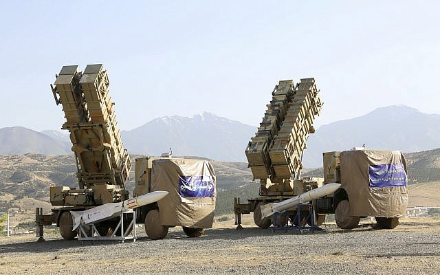 Le Kohrdad 15, une nouvelle batterie de missiles sol-air , quelque part en Iran, le 6 juin 2019 (Crédit : Ministère iranien de la Défense via l'AP)